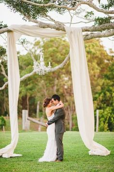 on the birch tree, asymmetrically hung, landing near Clump? In ivory tulle and jute mesh/burlap? #outdoorweddingceremony