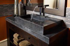 black polished concrete countertop