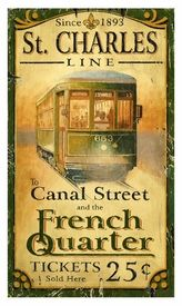 Customizable Large St. Charles Street Car Vintage Style Wooden Sign
