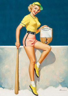 Home run honey. #pinup #girl #vintage #art #baseball