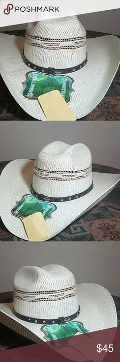 55d35f13138 2Tone Cream Rounded Bangora Cowboy Hat Two tone light brown and cream  rounded bangora cowboy hat. Brown and black hat band with silver conchos.