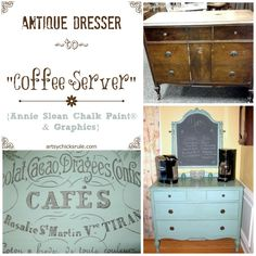 Antique Dresser to Coffee Server (Annie Sloan Chalk Paint & Graphics)