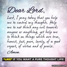 Prayer for pure thoughts