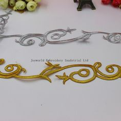 Gold lace appliqued gold thread embroidery lace iron on backing 3.3cm-in Lace from Home & Garden on Aliexpress.com   Alibaba Group Belle Dress, Gold Lace, Lace Applique, Alibaba Group, Yards, Sewing Crafts, Infant, Arts And Crafts, Iron