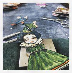 Paper doll.  #watercolor #available #danita #danitaart #watercolor #artdoll #paperartdoll #dollstagram