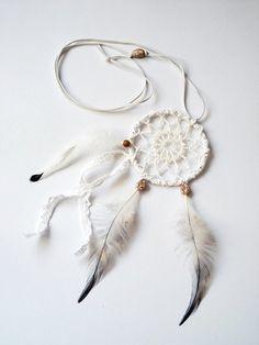 Dream catcher crochet lace necklace white tribal by wincsike, $25.00