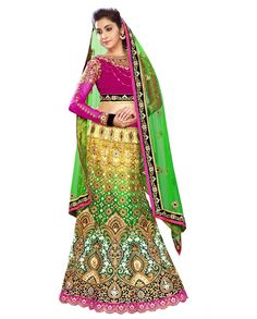 Multicolor shaded lehenga with zari resham and sequins heavy embroidery   1. Multicolor shaded net velvet georgette heavy embroidered lehenga2. Zari resham thread embroidery zari heavy work and heavy embroidery3. Comes with matching dupatta4. Can be stitched upto size 42 inches