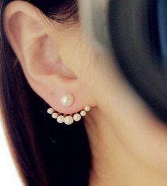 Pear Stud Earrings / Earring Cuffs / Pearl Earring by GrlTalk