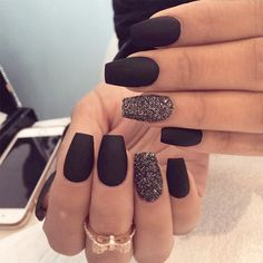 Matte Black Nails That Will Make You Thrilled ★ See more: http://glaminati.com/matte-black-nails/