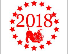 2018 in Circle of Stars Instant Download PNG SVG DXF Dog