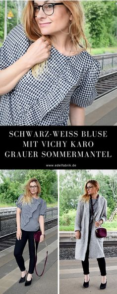 Bluse in Sommer Karo Schwarz-Weiß grauer Sommermantel aus Wolle / Outfit #skinnyjeans #blackandwhite #outfit #over40 #modetipps #bestager #ü40 #modeblog #modetipps