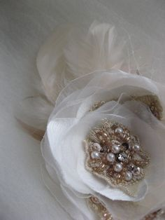 Ivory blush bridal flower lace Hair clip with tulle by LeFlowers,