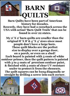 The BarnQuiltStore is open & ready to sell my hand painted barn quilts, wooden signs, and other fun stuff! I'm SOOO excited! Barn Quilt Designs, Barn Quilt Patterns, Quilting Designs, Block Patterns, Paper Patterns, Barn Quilts For Sale, Pattern Meaning, Barn Signs, Pallet Signs
