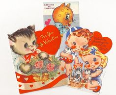 Valentine cats--Kittens in a basket.