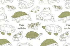 Set with frogs and turtless pattern  @creativework247