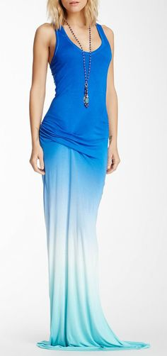 Hamptons Racerback Ombre Maxi Dress. LOVE the dip dye, must own some soon.  Also love the maxi dress, must own one soon.  Don't like the gathering at the hip, but that might just be the way she's standing.  Hope maxi dresses are still around this summer...