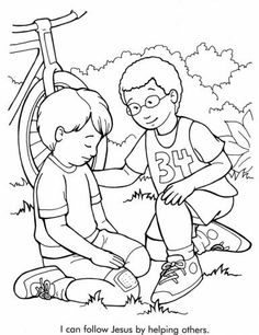 Coloring Pages Of Kids Helping Others