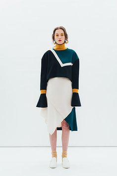 J Moon, F/W 2015. Note the marigold collar (the colorblocking accents its shape) and the slightly flared-out sleeves and cropped length.