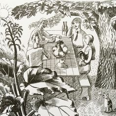 Bawden & Ravilious. A picnic in the garden with Tirzah and Hennell. Drawn by Bawden for Ambrose Heath's Good Food in 1932. #may #ambroseheath #edwardbawden #ericravilious by designfortoday