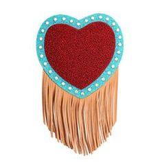 1bb1dda891 Bolsa terracota no formato de coração acolchoado com franjas