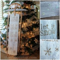 Let It Snow - DIY glittered Christmas sled Christmas Branches, Christmas Sled, Christmas Ornaments To Make, Christmas Holidays, Christmas Crafts, Christmas Decorations, Xmas, Christmas Centerpieces, Christmas 2017