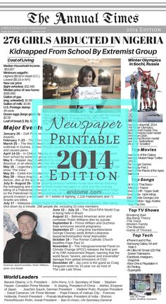 2014 Headlines, Cost of Living, World Leaders, Technology, and Popular Culture. Newspaper Article, Old Newspaper, Cost Of Living, Frugal Living, Newspaper Archives, Major Events, S Stories, World Leaders, Book Journal