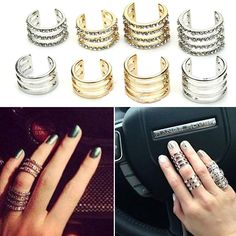 Multi Layer Knuckle Midi Rings Plain: $8, Crystal: $10, *All Gold Rings Sold Out*