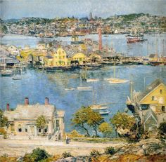 Harbor at Gloucester Massachusetts Seascape by American Impressionist Painter Childe Hassam Counted Cross Stitch or Counted Needlepoint Pattern American Impressionism, Portraits, American Artists, Art Museum, Fine Art Prints, Art Gallery, Beautiful, Fl Usa, Florida Usa