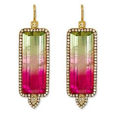 Jemma Wynne earrings: Watermelon Tourmaline, Diamond, and Gold Earrings. it must have been difficult for the designed to find this amazing pair. I watermelon tourmaline Gems Jewelry, I Love Jewelry, Jewelry Art, Vintage Jewelry, Jewelry Accessories, Fine Jewelry, Jewelry Design, Jewellery Earrings, Unique Earrings