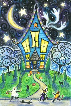 The Halloween House - 6x9 print - by Brenna White - ghosts black cat  moon stars fall autumn halloween. $15.00, via Etsy.