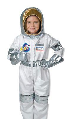 Melissa & Doug Astronaut Role Play Costume Set (5 pcs) - Jumpsuit, Helmet, Gloves, Name Tag