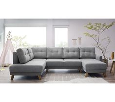 Canapé d'angle droit panoramique BALIO convertible coffre Gris clair - Canapé BUT Angles, Canapé Angle Convertible, Sofa, Couch, Furniture, Collection, Home Decor, Products, Mousse