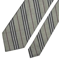 BURBERRY1 Tie Nova Check In Gray Classic Woven Silk Necktie ITALY MINT   fashion  clothing 02b3cb1bb