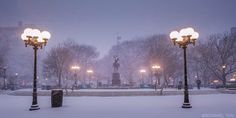 Fresh Snow at Union Square NYC by Rommel Tan  @rtanphoto   via newyorkcityfeelings.com - The Best Photos and Videos of New York City including the Statue of Liberty Brooklyn Bridge Central Park Empire State Building Chrysler Building and other popular New York places and attractions.