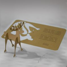 The Christmas card is made of high quality eco brown paper. From the cover can be set small reindeer as a decoration. On the small eco brown insert can be print. The envelope is included.