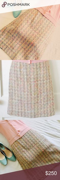 Neiman Marcus Brand Chanel Style Pencil Skirt Stunning vintage luxury tweed skirt from Neiman Marcus. Classic Chanel style ladies dress skirt. Perfect spring party skirt. Easter brunch, day time wedding bridal or baby shower, classy and sophisticated, this skirt will be your go to lady who lunches outfit. Marked  size 6 but fits like a small. Please she measurements. Cotton, Rayon and Silk. Fully lined. Zip back. Not Chanel but authentic Neiman Marcus made in Chanel Style. Excellent used…