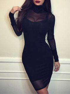 Mesh High Neck Bodycon Dress Bandage Dresses 3b0e51614936