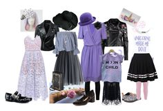 """""""Lilac Night"""" by dollgrownup on Polyvore featuring Boohoo, Vanessa Bruno, self-portrait, Marc Jacobs, Dr. Martens, Chicwish, Demonia and Dorothy Perkins"""
