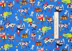 Fabric Pirate Animal Panda Koala Rhino Kids Blue Timeless Treasures Cotton Yard   eBay