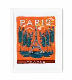 A unique take on one of the world's most depicted cities—Paris's Eiffel Tower set against a red sky, originally painted by Anna Bond.