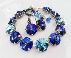 New w/Swarovski Rivoli Aquamarine/Sapphire Crystal Bracelet and Earring Set #HisJewelsCreationsDesign