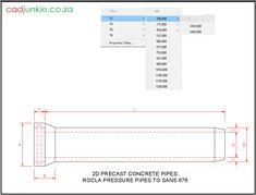 Precast Concrete Pipes: Rocla Sewer Pipe with Sacrificial Layer to SANS 677 Precast Concrete, Cad Blocks, Autocad, Pipes, Editor, 2d, Tables, The Unit, Mesas