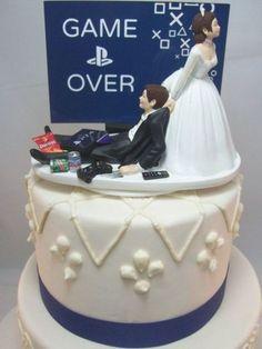 Gamer Wedding Cake, Funny Wedding Cake Toppers, Diy Wedding, Video Game Wedding, Playstation, Pretty Summer Dresses, Gamer Humor, Cake Games, Gaming