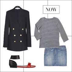 Clockwise:  Stella McCartney blazer, mytheresa.com.  Chance sailor tee, chanceco.com.  Current/Elliott skirt, net-a-porter.com.  Chloé sandal, similar on shopBAZAAR.com.