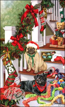 "SORRY SOLD OUT! Pug Christmas Holiday Cards are 8 1/2"" x 5 1/2"""
