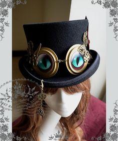 Cheshire Cat engrenagem Steampunk Top chapéu chapéu de feltro                                                                                                                                                      Mais