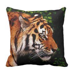 """#beauty - #Beautiful Tiger Head Shot 16""""x16"""" Zippered Cotton Throw Pillow"""