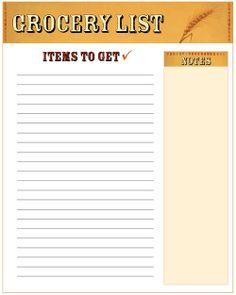 Free printable shopping list