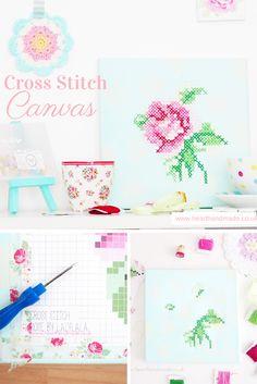 Lovely Handmade Rose Cross Stitch Canvas
