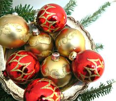 1960 christmas ornaments   Glass Christmas Ornaments - Vintage Rauch Tree Decorations in Original ...